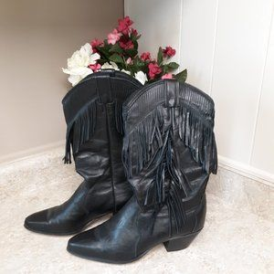 Laredo Black Fringe Cowgirl Western Boots